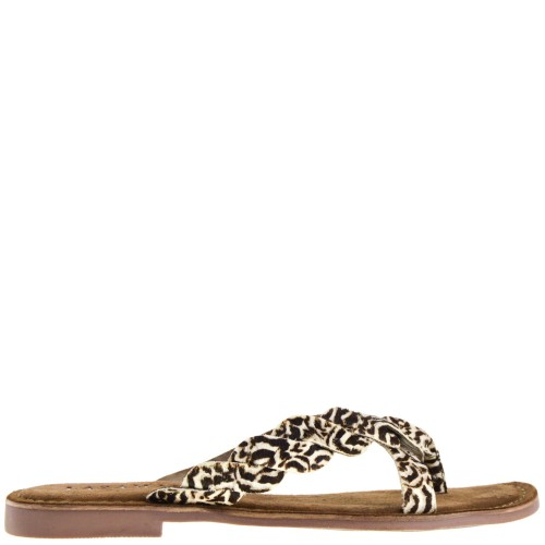 Lazamani Dames Slippers in White Leopard online kopen