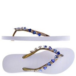 Uzurii Heart Blue Dames Slippers in Wit online kopen