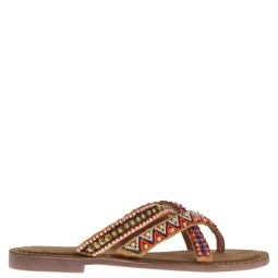 lazamani dames slippers naturel multi