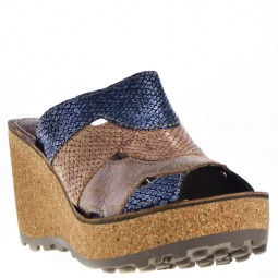 Fly London Gaxi Dames Sleehak Sandalen in Naturel Multi kopen bij Taft Shoes