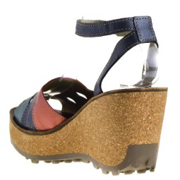 Fly London Galm Dames Sleehak Sandalen in Blauw Multi kopen bij Taft Shoes