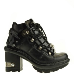 new rock dames veterschoenen plato zwart