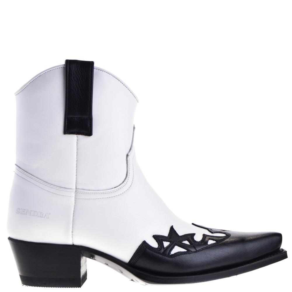 Sendra 16459 Judy Dames Western Enkellaarsjes in Wit Zwart