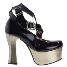 new rock dames plato pumps zwart lak