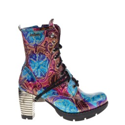 new rock dames halfhoge veterboots blauw