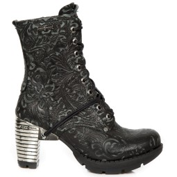 new rock dames halfhoge veterboots zwart