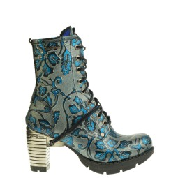 new rock halfhoge dames veterschoen blauw