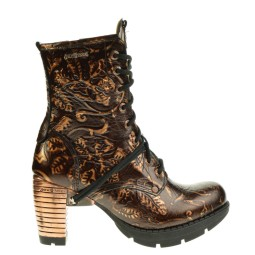 new rock dames halfhoge veterboots brons