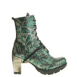 new rock dames halfhoge veterboots groen