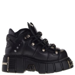 new rock halfhoge dames veterboots zwart