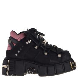 new rock dames veterboots plato zwart