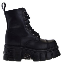 new rock hoge dames veterboots zwart