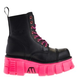 new rock dames platform veterboots zwart