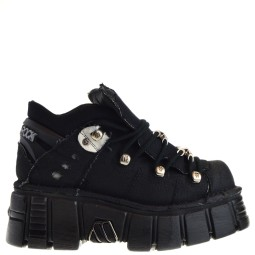 new rock dames platfrom veterboots zwart
