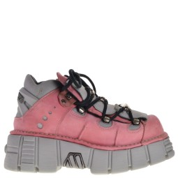 new rock halfhoge dames veterboots roze