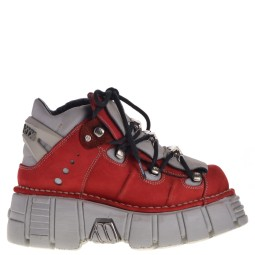 new rock halfhoge dames veterboots rood