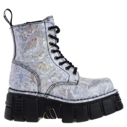 new rock hoge dames veterboots wit