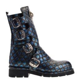 new rock dames bikerboots blauw