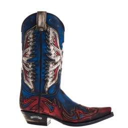 Sendra Cowboy Boots Blue Red for Women