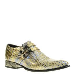 new rock heren loafers goud/blauw
