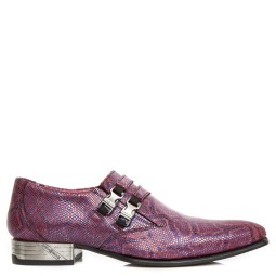 new rock heren loafers paars pitone