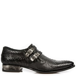 new rock heren loafers zwart pyhton