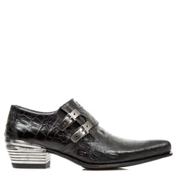 new rock heren loafers zwart croco