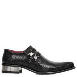 new rock heren loafers zwart python