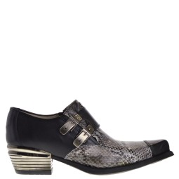 new rock heren western loafers zwart