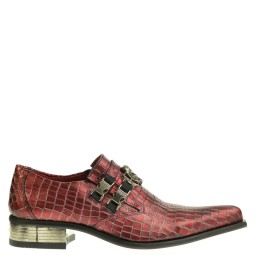new rock heren loafers rood crocoprint