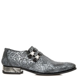 new rock heren loafers grijs flower