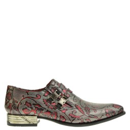 new rock heren loafers zilver/rood