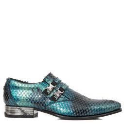 new rock heren loafers blauw croco