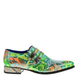 new rock heren loafers flowerprint groen