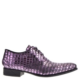 new rock heren veterschoenen roze croco