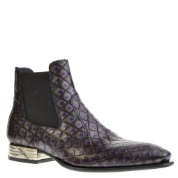 new rock heren chelsea boots paars croco