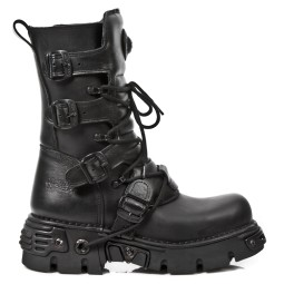 new rock heren halfhoge veterboots zwart