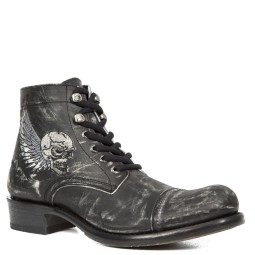 new rock heren halfhoge veterschoen zwart