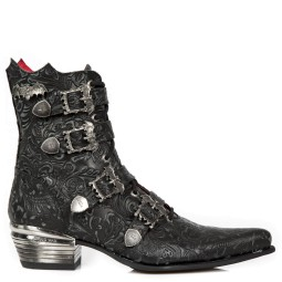 new rock halfhoge heren veterboots zwart