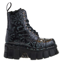 new rock heren platform veterboots zwart