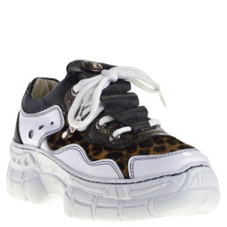 New Rock Dames Sneakers in Wit Leopard kopen bij Taft Shoes